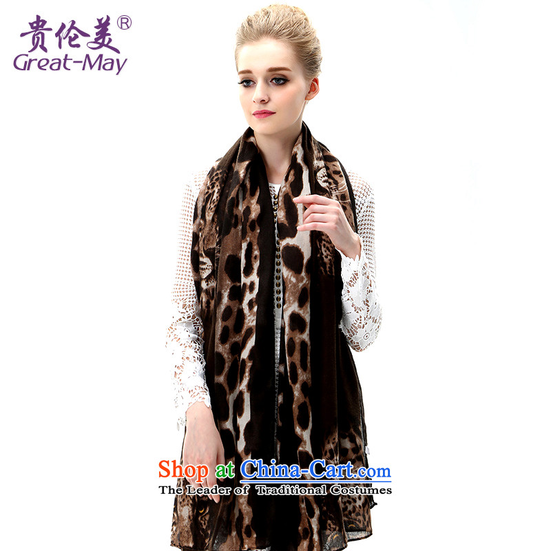 The US military leopard scarf spring and autumn, sunscreen shawl large beach towel seaside long Leopard Stamp silk scarf Winter Female SJ0048C07A05 coffee leopard