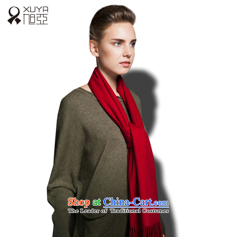 Ms. Ya pure Cashmere scarf autumn and winter solid color warm thick stylish wild red