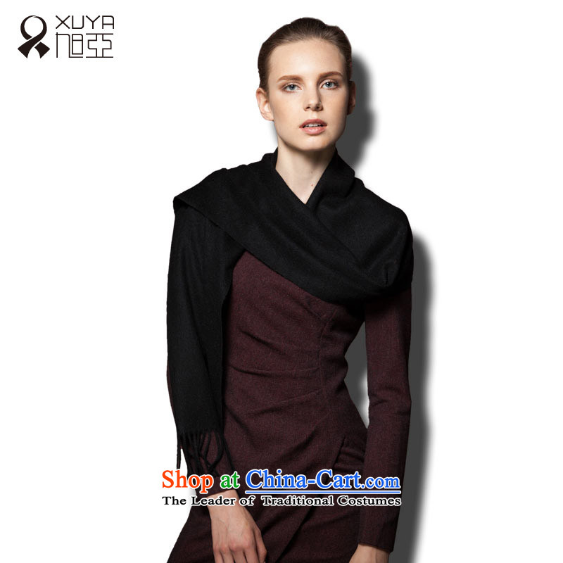 Ms. Ya pure Cashmere scarf autumn and winter solid color warm thick stylish wild Black