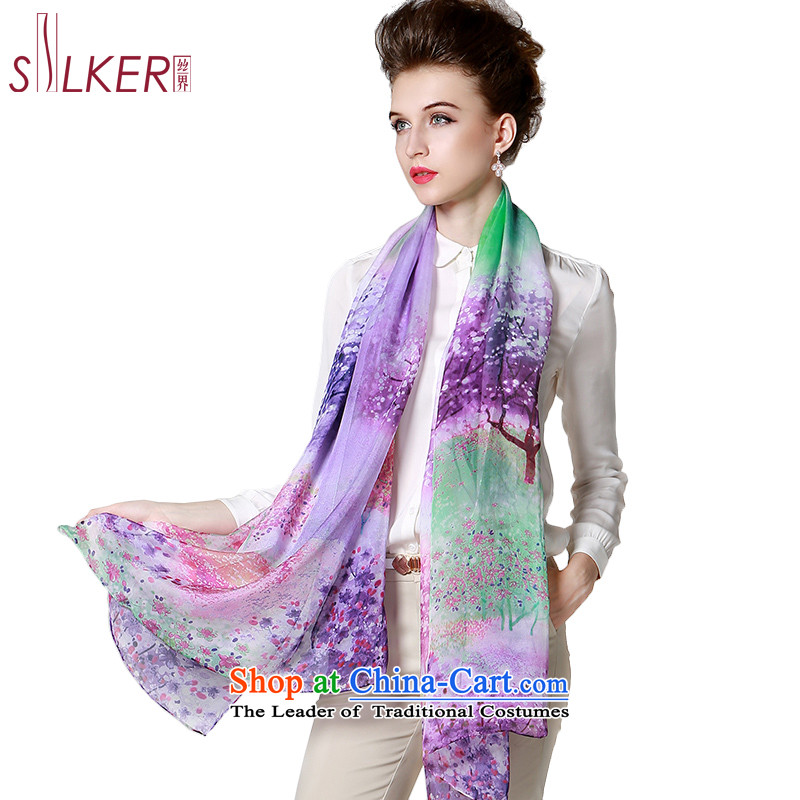 The population sector SIGI autumn and winter herbs extract new long silk  scarf oversized maxi wild large scarf colors romantic Purple 732c38b559c73