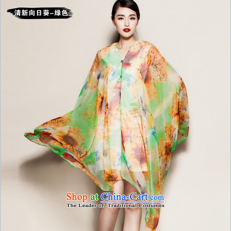 The new summer stamp shawl cycling driving chiffon sunscreen cloak beach towel silk scarf long scarf women and two scarf stitching of large sunscreen