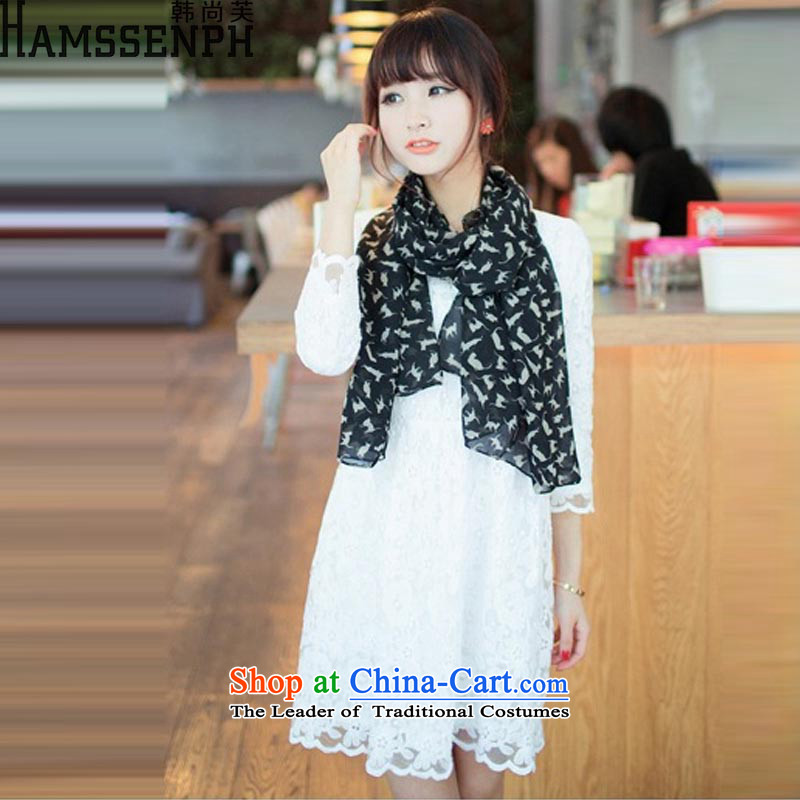Korea has yet to 2015 stylish silk scarf sexy small pussy new lovely long), scarves XF806 black are code
