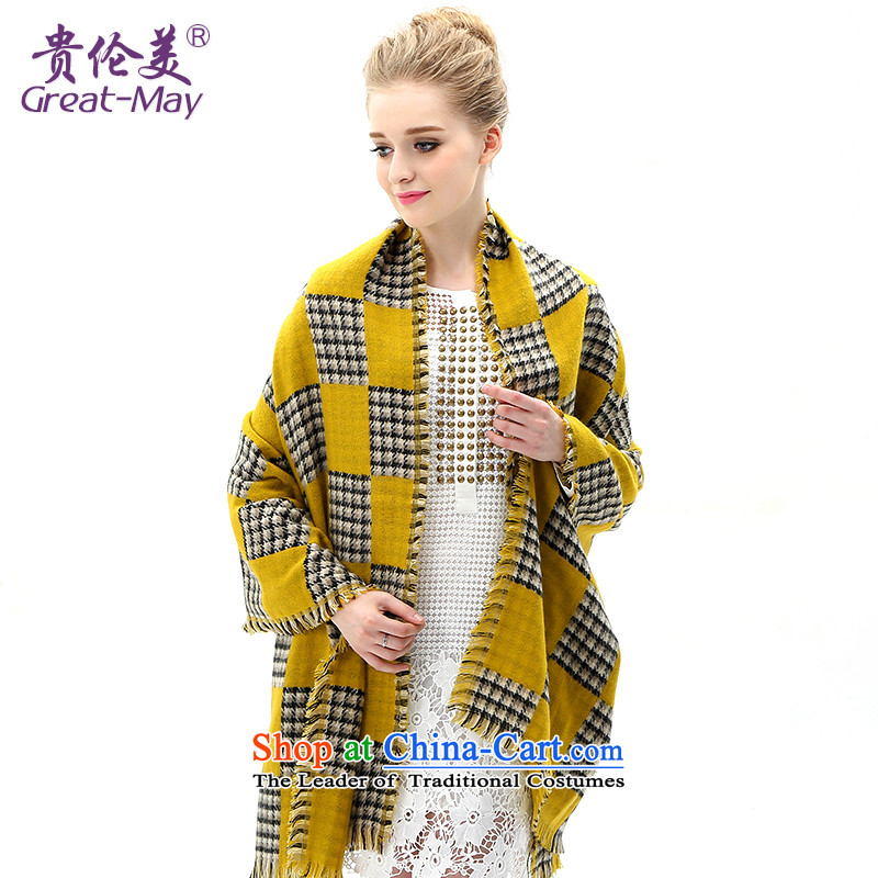 The Hebron-mei, scarf Fall Winter warm latticed knitted a Korean Winter Sweater Ma thickened folder of the scarf WJ0107X03C05 female yellow plaid