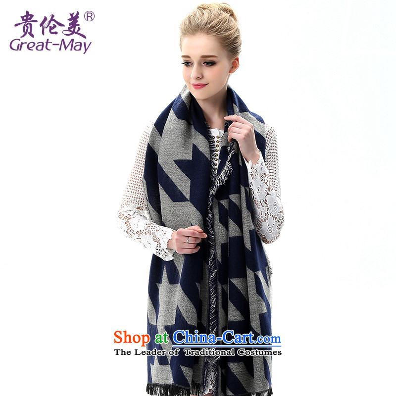 The US military winter female Korean scarves warm latticed knitted a Fall Winter Thick printed Knitting scarves WJ0109X03C05 Blueish gray color scheme of the cape