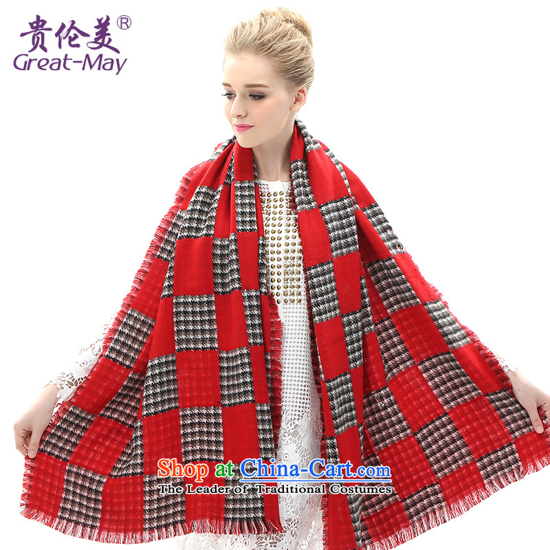 Ms. Qiu winter scarves greatmay warm latticed knitted a Korean Winter Sweater Ma thickened folder of the scarf WJ0107 female Red Plaid