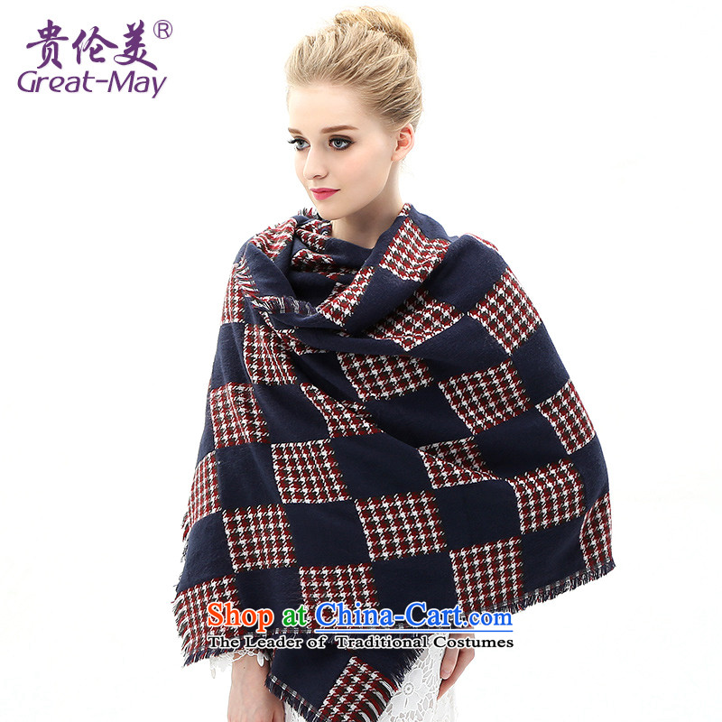 The Hebron-mei, scarf Fall Winter warm latticed knitted a Korean Winter Sweater Ma thickened folder of the scarf WJ0107X03C05 female navy blue plaid