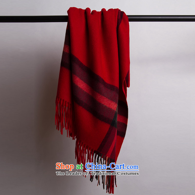 Ms. Ya Pure Wool shawl scarf autumn and winter intensify extra long warm thick, the red.