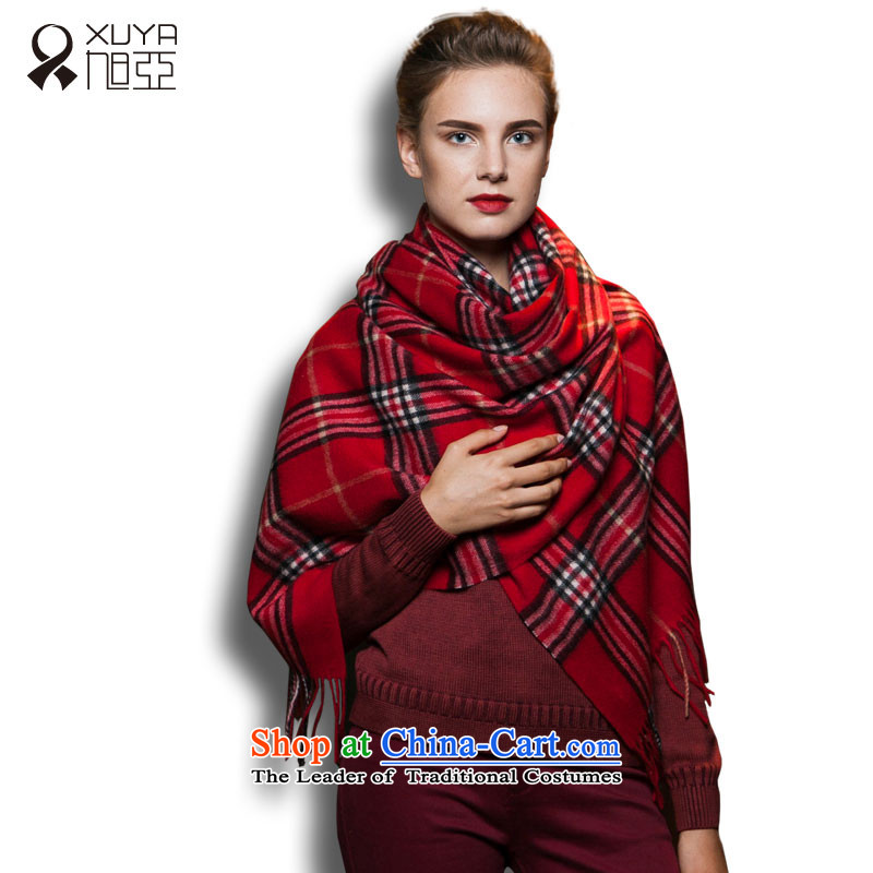 Ms. Ya Pure Wool shawl scarf autumn and winter intensify extra long warm thick_ Red Bague