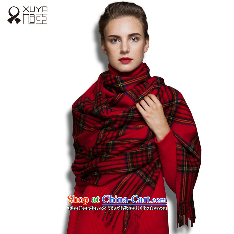Ms. Ya Pure Wool shawl scarf autumn and winter intensify extra long warm thick red, Scotland_