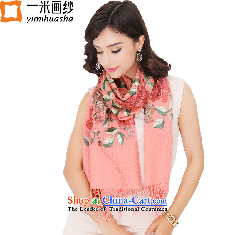 One meter animation yarn for autumn and winter 2015 new products wool woolen scarves, Peony shawl embroidered pink female