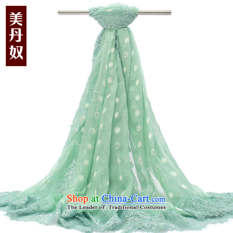 The United States House of Ms. Dan silk scarf silk scarves female herbs extract_ thin lace dot Fancy Scarf 180_130 lace green dot