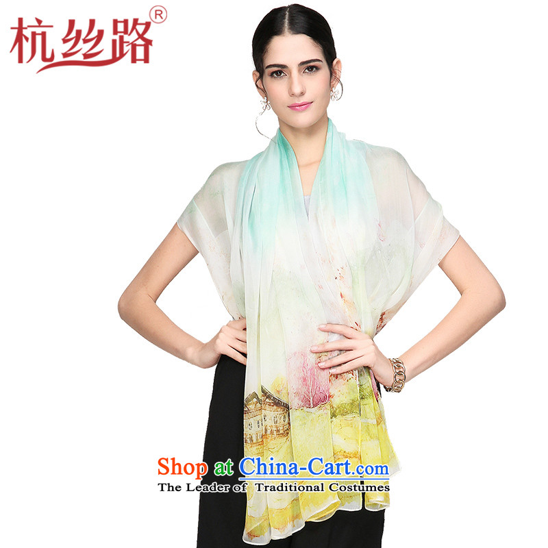 Alejandro Toledo Silk Road silk scarves female stamp herbs extract scarf Wuyun Hill - yellow and green