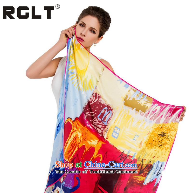 2015 Autumn and winter large RGLT specifications herbs extract Ms. silk scarves Sleek and versatile OL an elegant and towel scarf cats March Of Happiness - Yellow