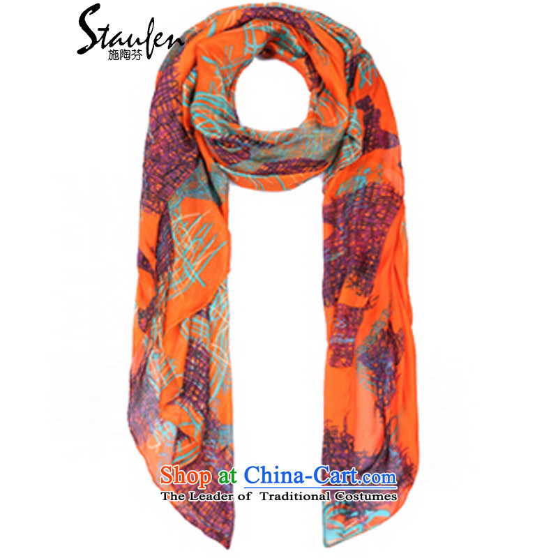Stauffen 2015 autumn and winter new Korean style with wild air-conditioned two beach silk scarf 2002 orange are code