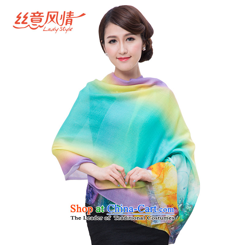 The population to feel Ms. wooler scarf wool painted silk scarf female spring and autumn winter shawl dual-use extended a warm increase#14 Colorful Foam