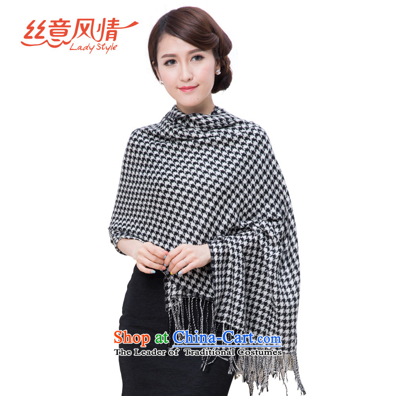 The population to feel the Korean version of the men and women's shawl black and white checkered thick, Chidori silk scarf black and white chidori wool.