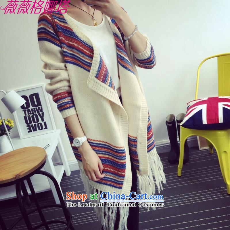 Weiwei Grid Natashaload new autumn 2015 Korean version of reverse collar loose bat knitting cardigan sweater jacket shawl AA1354 Picture Color