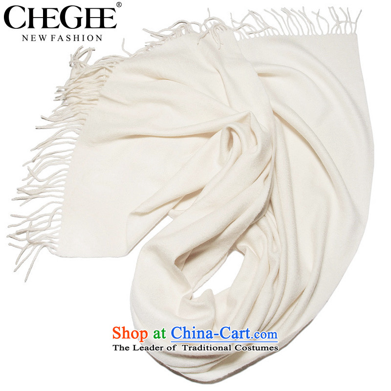 Anthology of autumn and winter woolen scarves CHEGEE female pure color shawl scarf edging applied to men and women couples scarf m White