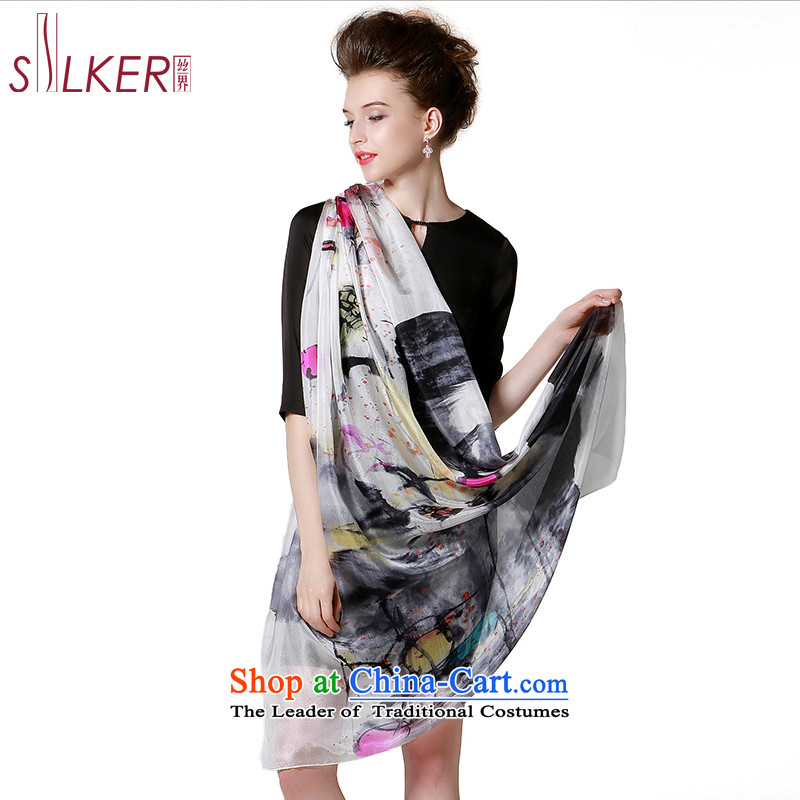 The population sector SIGI autumn and winter Ms. new silk scarves stylish stamp herbs extract shawl fourth quarter wild bird feathers scarves flight is white