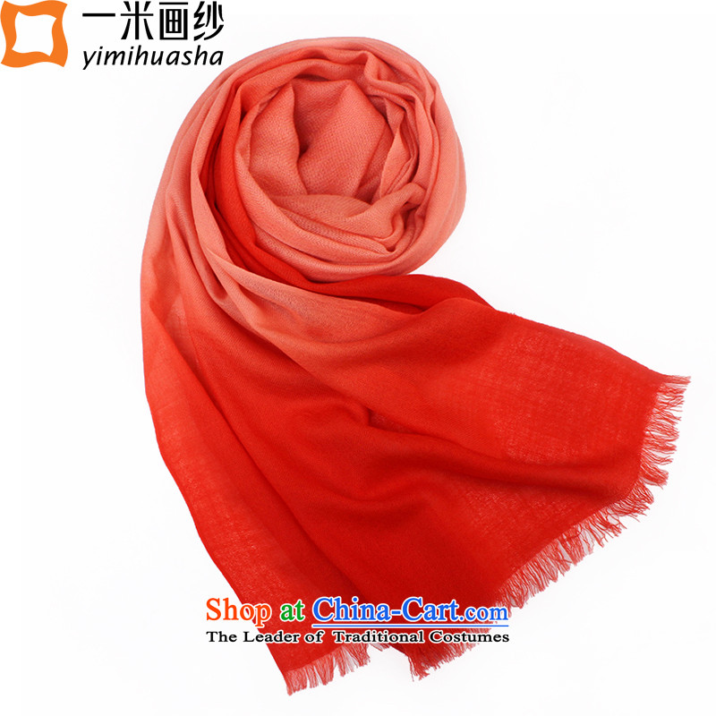 One meter picture of autumn and winter New 60 Australia wool woolen scarves vertical gradient of female Red Orange Orange toner