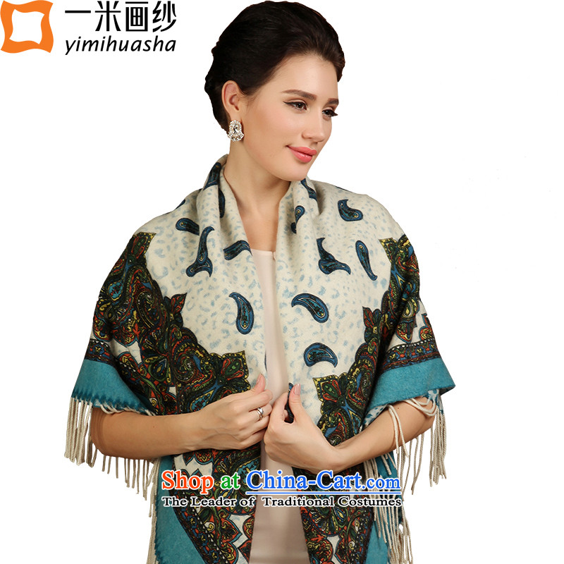 One meter picture of autumn and winter new stamp wool warm towel blue scarf and pashmina shawl