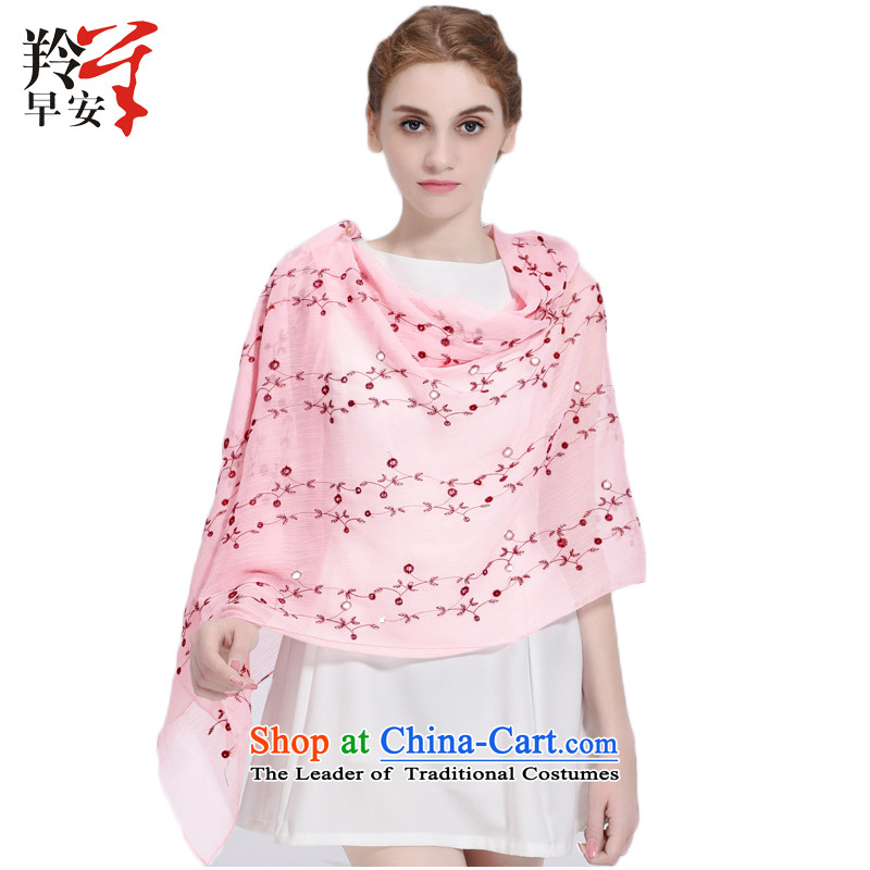 Good morning female new Gazelle arts creases in-the-know embroidery silk scarf elegant embroidery sunscreen long towel Yao Ye - Pink are code