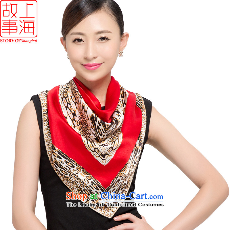 Shanghai Story Ms. new silk scarfs boast leopard silk scarves satin and classy towel 178060 Red