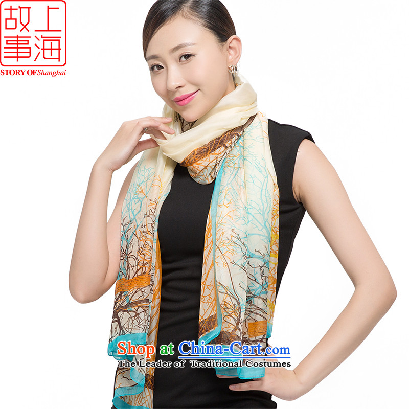 Shanghai Story 2015 chiffon sunscreen long towel beach towel leisure shawl dulls scarf silk scarf girls shaded 178041 branches to ensure beige