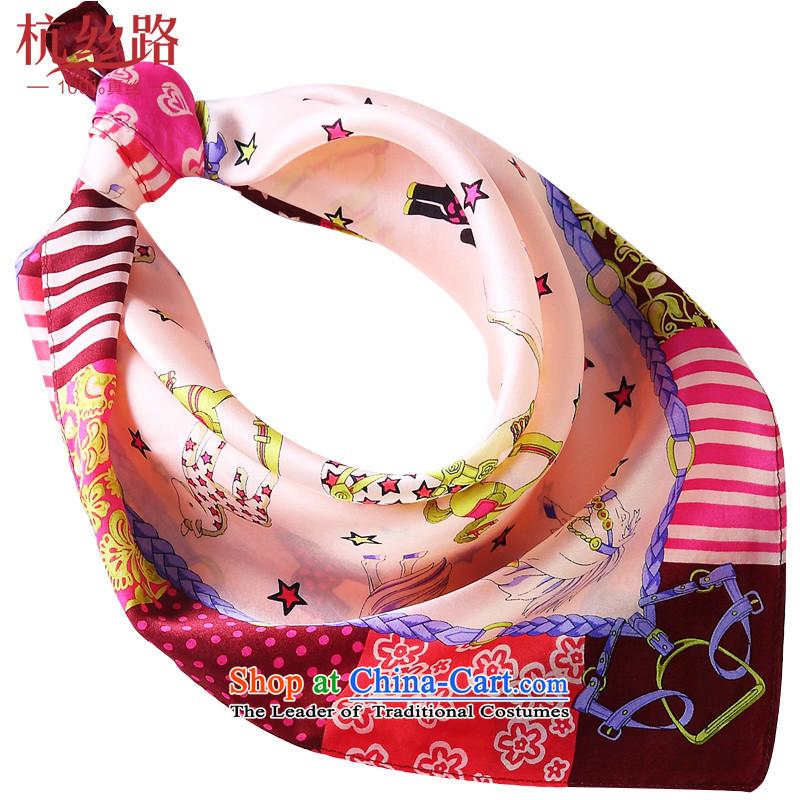 Alejandro Toledo Silk Road silk small square cloths female business air hostesses handkerchief silk scarf children Korean Horse - Pink