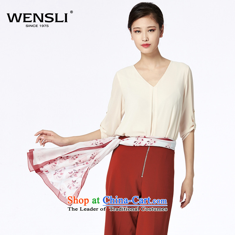 Wensli silk long towel new products shawl beach towel scarf herbs extract silk scarf gift box with the Butterfly Dance incense50*180 Red