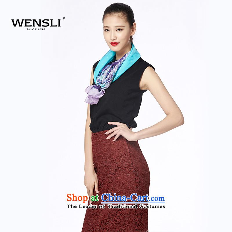 Wensli silk scarfs stylish stamp herbs extract long silk scarf scarf chiffon gift shawl Asakusa flow screen52*190cm Purple