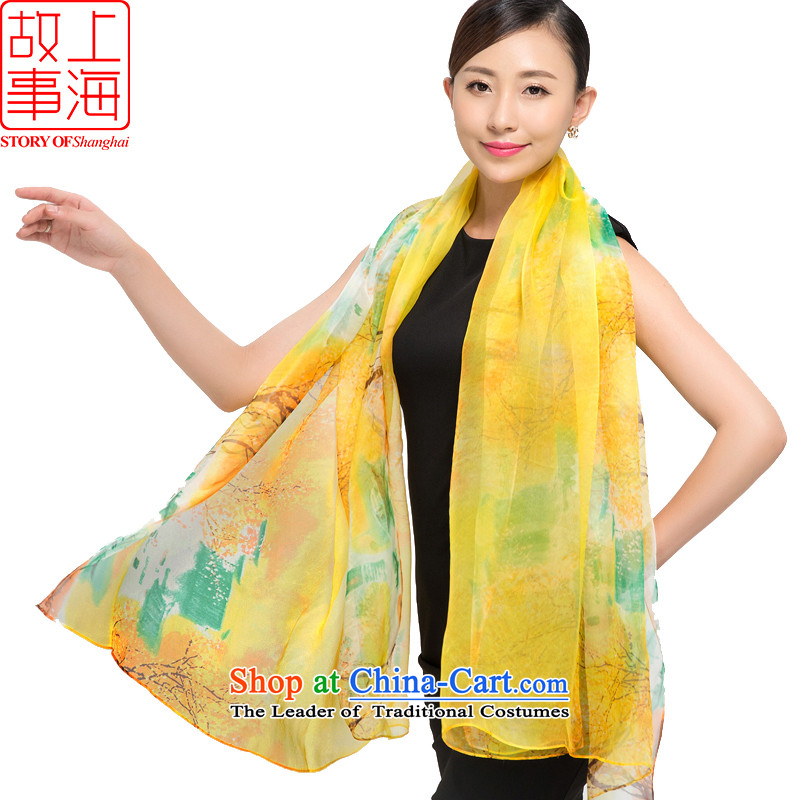 Shanghai Story 2015 new silk scarves female summer sunscreen herbs extract beach towel gittoes silk shawls scarves spring, summer, autumn and winter 178053 yellow