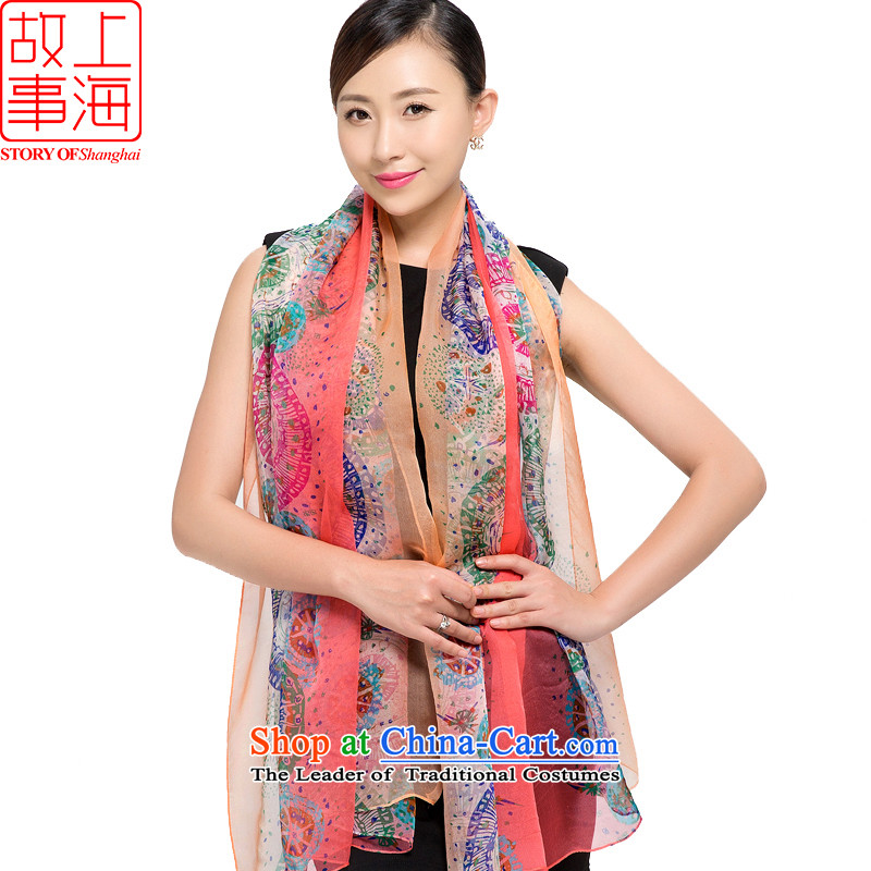Shanghai Story 2015 new silk scarves female summer sunscreen herbs extract beach towel gittoes silk shawls scarf time waited 178055 Pink
