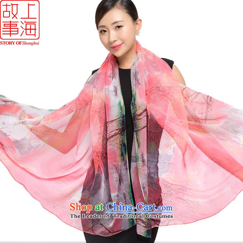 Shanghai Story2015 new silk scarves female summer sunscreen herbs extract beach towel gittoes silk shawls spring, summer, autumn and winter 178053 Pink