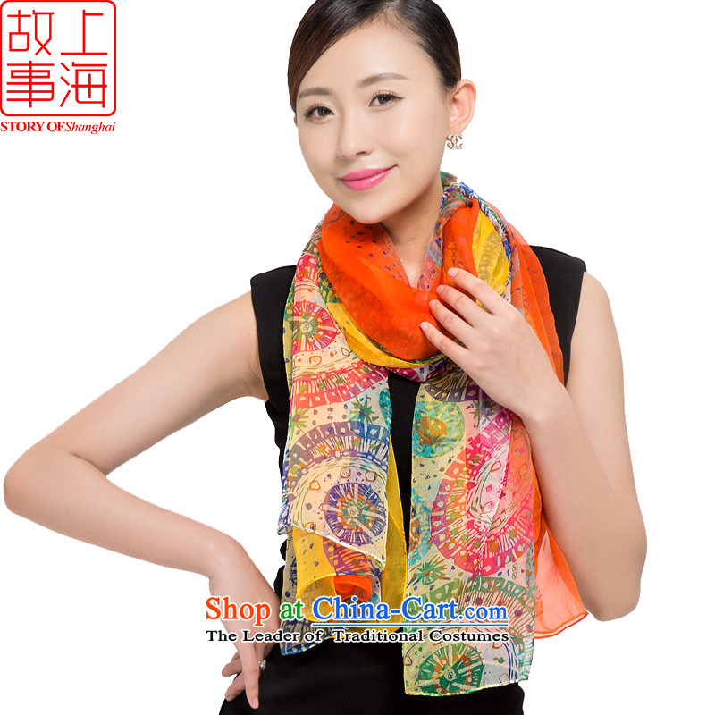 Shanghai Story 2015 new silk scarves female sunscreen herbs extract beach towel Joe its population scarf time waited 178055 Orange
