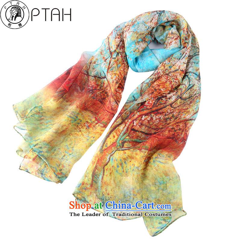 Buta silk scarves silk scarves Jamsil DOS SANTOS President Chun summer shawl long sunscreen snow spinning towel poster stamp blue & yellow