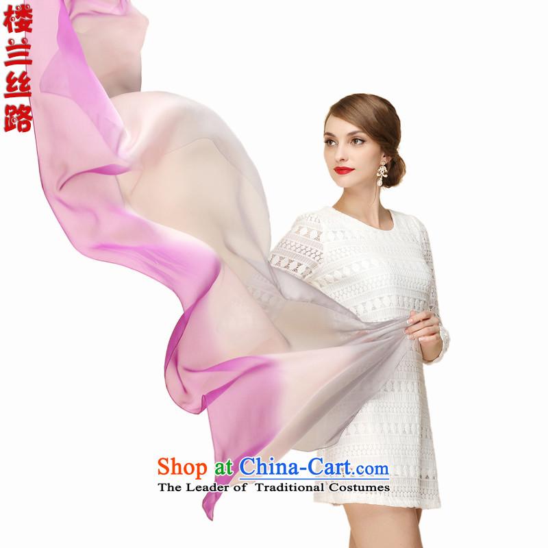 Loulan Silk Road silk tri-color gradient long silk scarf of toner purple LL89034 Silver Gray