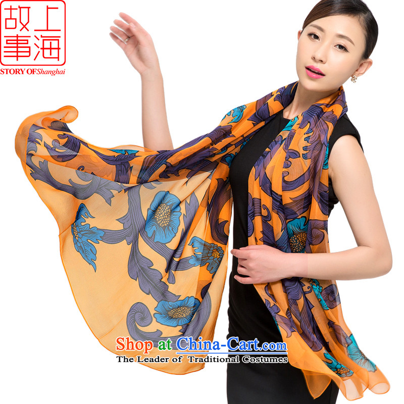 Shanghai Story 2015 silk scarves female summer herbs extract scarf sunscreen shawl beach towel All That Jazz 178056 yellow