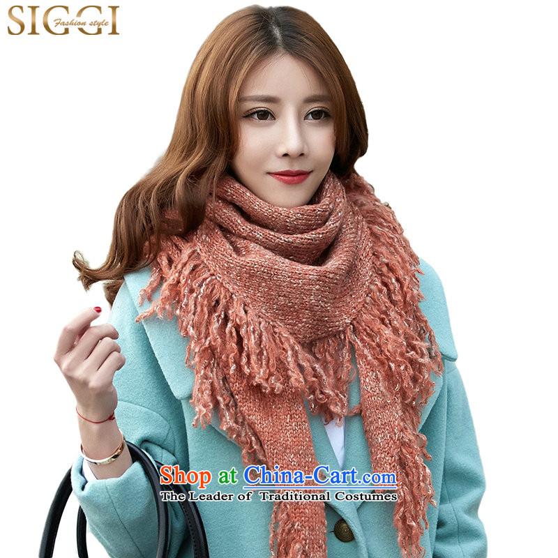 Siggiscarf female autumn winter Korean triangular shawl edging multimedia point stylishly decorated with Knitting knitting a orange 180_45CM about