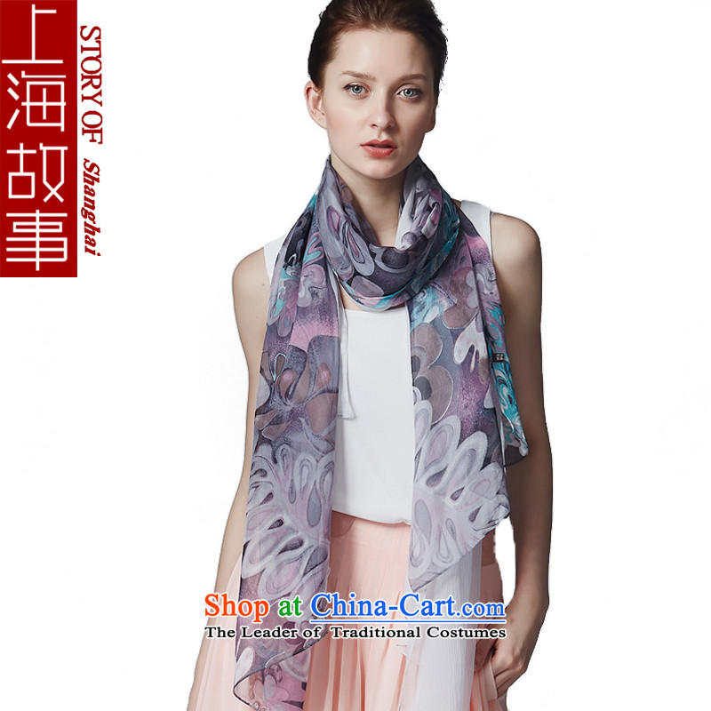 Shanghai Story silk scarves, scarf winter long shawl a herbs extract poetic style Gray
