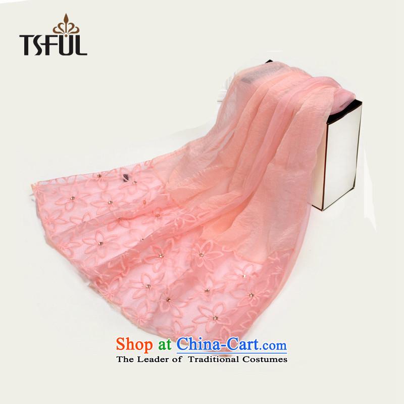 Tsfulbeach towel shawl scarf female arts chiffon summer long sunscreen embroidery lace a pink
