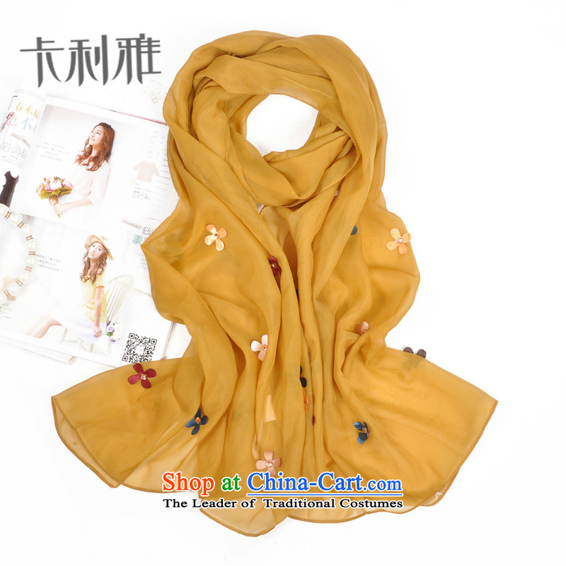 The end of the scarf female arts chiffon summer long sunscreen beach towel lovely soft national wind the chador stamp yellow