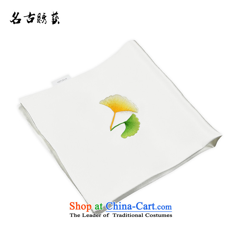 Name the tapestry arts suzhou embroidery finished silk handkerchief embroidered manually go abroad for business gift China wind white yellow and green Ginkgo