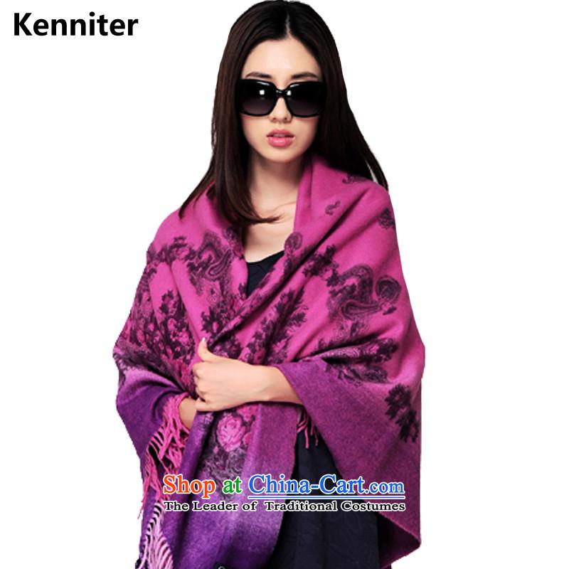 The Annette (kenniter) shawl female winter intensify scarf shawl Ms. thick woolen shawl Magenta Gradient