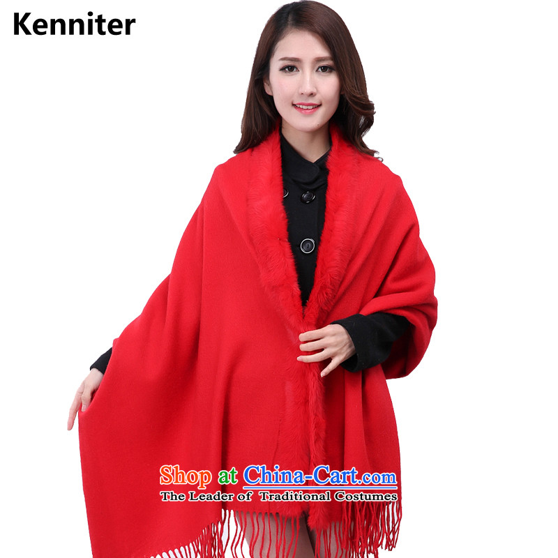 The Annette (kenniter) and Winter Female shawl with warm fur muffler, rabbit hair for Edge Thick Long woolen shawl 3144 W - Red Shawl gross