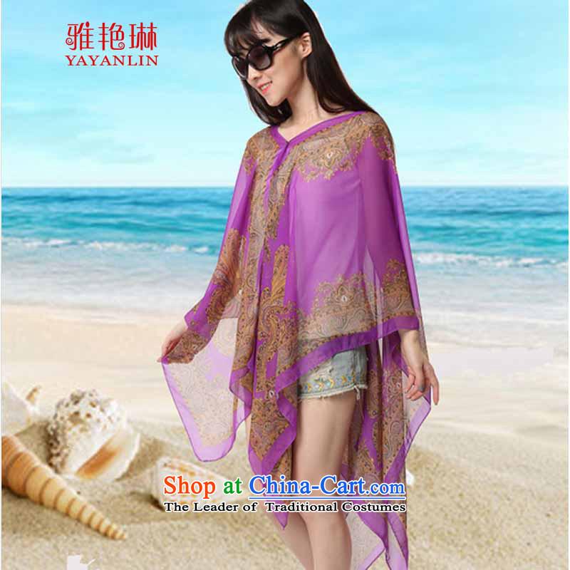 Ya Yun Lin 2015 Summer new sunscreen shawl UV Long-Sleeve sunscreen Yi Grand Prix yarn scarf silk scarf female F1FA1063-D_695 Purple
