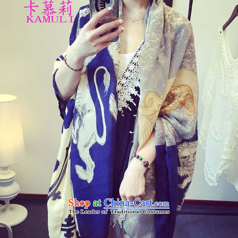 The             spring and autumn 2015 Li card, silk scarf summer long scarf Korean sea border with two shawls Success Beach Towel Picture Color