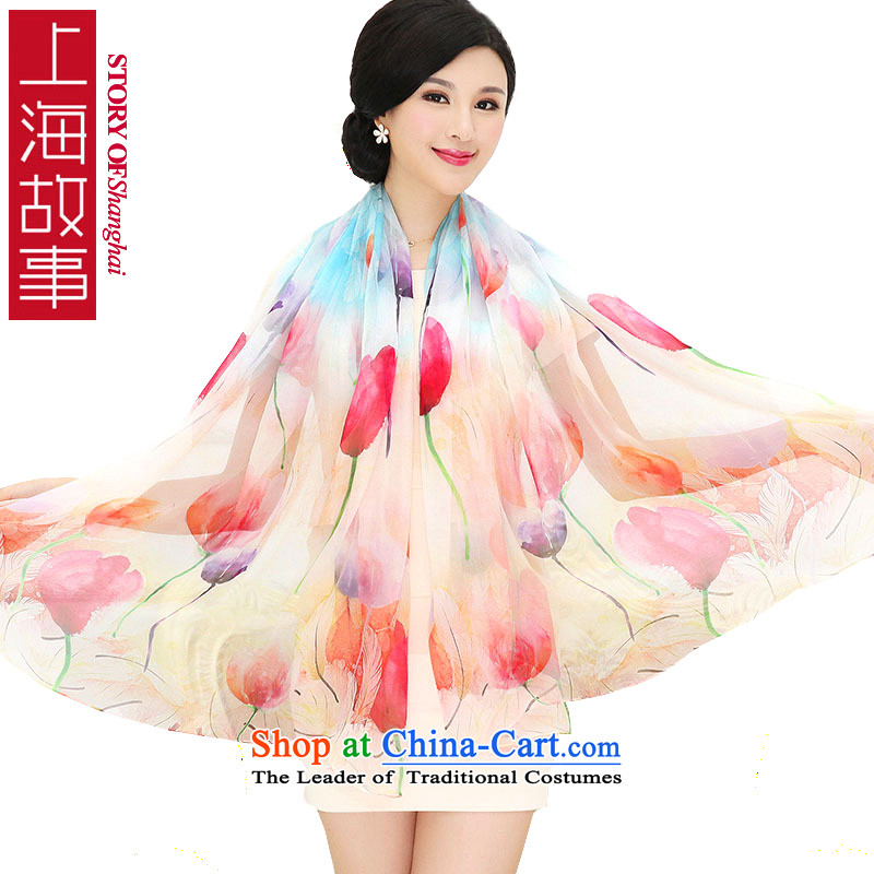 Shanghai Story Ms. silk scarfs extralong painting process herbs extract silk shawls 2#