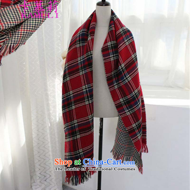 The card li聽          2015 autumn and winter duplex latticed new ultra long warm emulation _pashmina shawl dual-use thick chidori of large scarf warm red.
