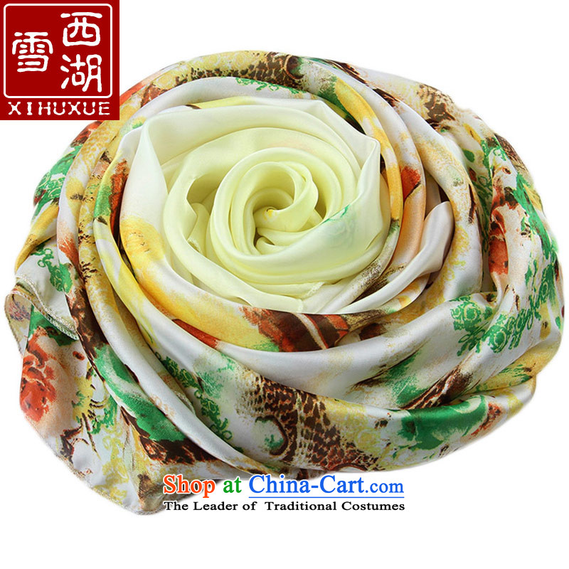 The Hsihu snow silk scarf female spring and summer long chiffon sunscreen painted silk scarf air-conditioning masks in Fancy Scarf rumblings of bright yellow
